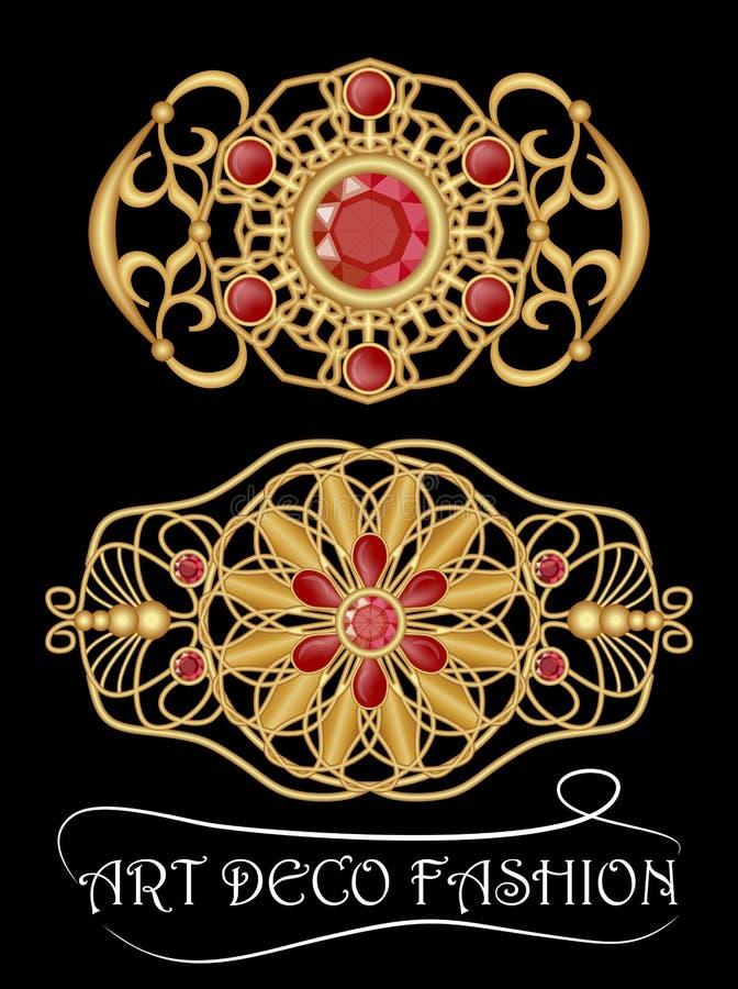 Πόρπη deco τέχνης με τους κόκκινο πολύτιμους λίθους, το ρουμπίνι ή το γρανάτη, χρυσό filigree παλαιό κόσμημα Πανέμορφη εργασία χρ απεικόνιση αποθεμάτων