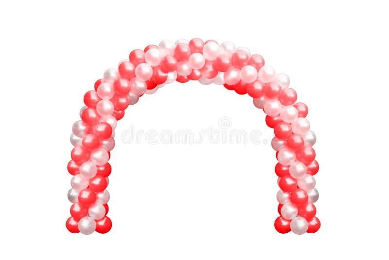 Πόρτα αψίδων μπαλονιών κόκκινη και άσπρη, γάμος αψίδων, στοιχεία διακοσμήσεων σχεδίου φεστιβάλ μπαλονιών με την αψίδα floral απομ στοκ φωτογραφία