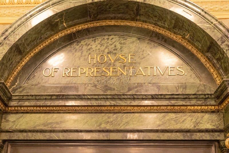 Πόρτα Βουλών των Αντιπροσώπων για το νομοθετικό σώμα κρατών μελών στο κτήριο κρατικού Capitol Misissippi στοκ εικόνα