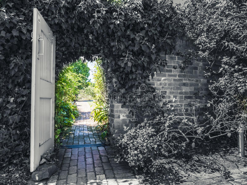 Πόρτα κήπων από γραπτό στο χρώμα στοκ εικόνα