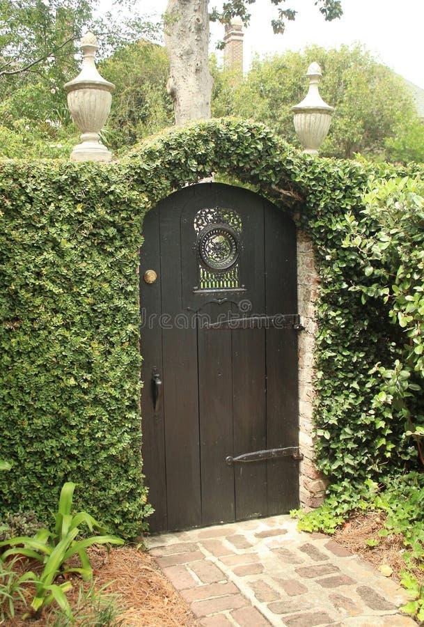 Πόρτα πυλών που περιβάλλεται από τις πράσινες αμπέλους στο Τσάρλεστον, νότια Καρολίνα στοκ φωτογραφίες