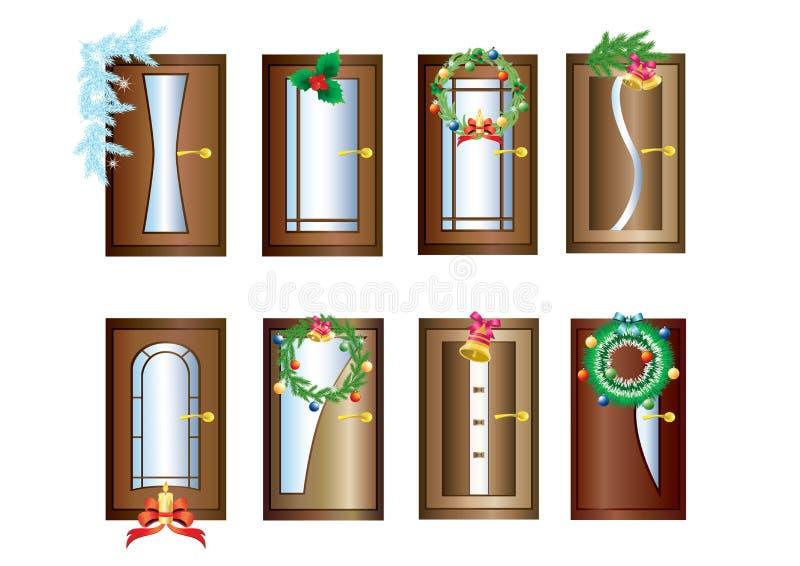Πόρτες με τις διακοσμήσεις Χριστουγέννων. διανυσματική απεικόνιση