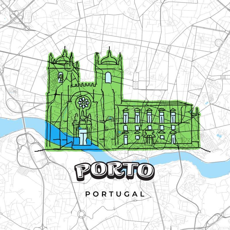 Πόρτο Πορτογαλία που επισύρει την προσοχή στο χάρτη ελεύθερη απεικόνιση δικαιώματος