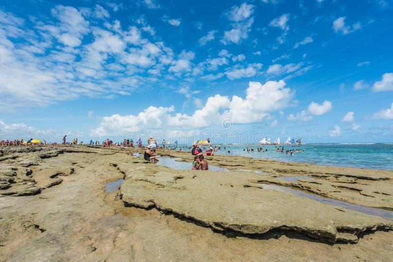 Πόρτο de Galinhas, Pernanbuco, Βραζιλία - τον Ιανουάριο του 2018: Το Πόρτο de Galinhas είναι μια από τις ομορφότερες παραλίες στο στοκ εικόνα με δικαίωμα ελεύθερης χρήσης