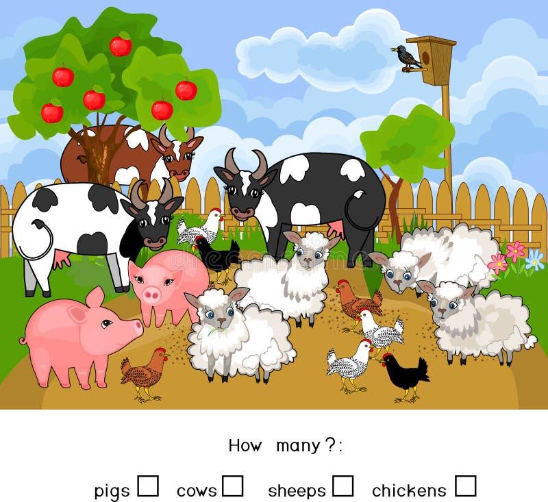 Πόσα ζώα Υπολογισμός του εκπαιδευτικού παιχνιδιού με τα διαφορετικά ζώα αγροκτημάτων για τα προσχολικά παιδιά διανυσματική απεικόνιση