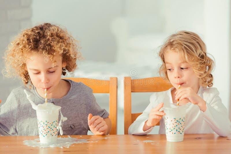 Πόσιμο γάλα αδελφών στοκ φωτογραφία με δικαίωμα ελεύθερης χρήσης