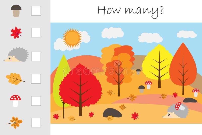 Πόσοι μετρώντας παιχνίδι, δάσος φθινοπώρου για τα παιδιά, εκπαιδευτικός στόχος μαθηματικών για την ανάπτυξη της λογικής σκέψης, π διανυσματική απεικόνιση