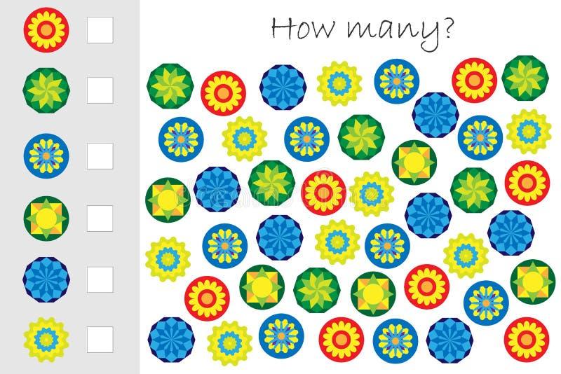 Πόσοι μετρώντας παιχνίδι με τα ζωηρόχρωμα mandalas για τα παιδιά, εκπαιδευτικός στόχος μαθηματικών για την ανάπτυξη της λογικής σ διανυσματική απεικόνιση