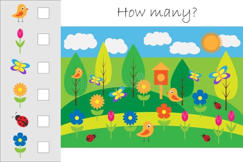 Πόσοι μετρώντας παιχνίδι με την εικόνα άνοιξη για τα παιδιά, εκπαιδευτικός στόχος μαθηματικών για την ανάπτυξη της λογικής σκέψης ελεύθερη απεικόνιση δικαιώματος