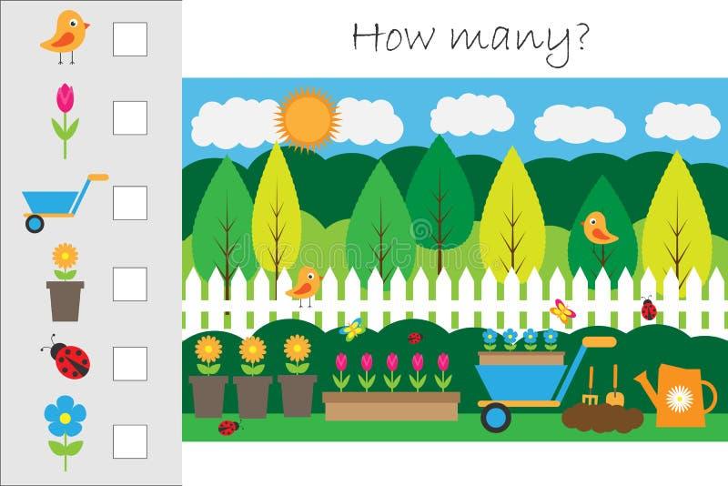 Πόσοι μετρώντας παιχνίδι με την εικόνα κήπων για τα παιδιά, εκπαιδευτικός στόχος μαθηματικών για την ανάπτυξη της λογικής σκέψης, διανυσματική απεικόνιση