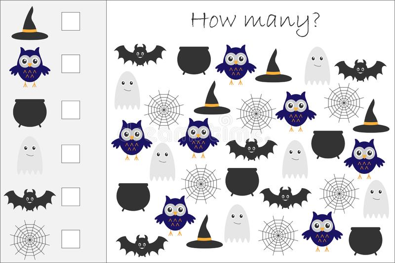 Πόσοι μετρώντας παιχνίδι με τις εικόνες αποκριών για τα παιδιά, εκπαιδευτικός στόχος μαθηματικών για την ανάπτυξη της λογικής σκέ απεικόνιση αποθεμάτων