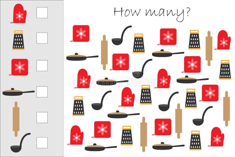 Πόσοι μετρώντας παιχνίδι με το μαγείρεμα των εικόνων για τα παιδιά, εκπαιδευτικός στόχος μαθηματικών για την ανάπτυξη της λογικής ελεύθερη απεικόνιση δικαιώματος