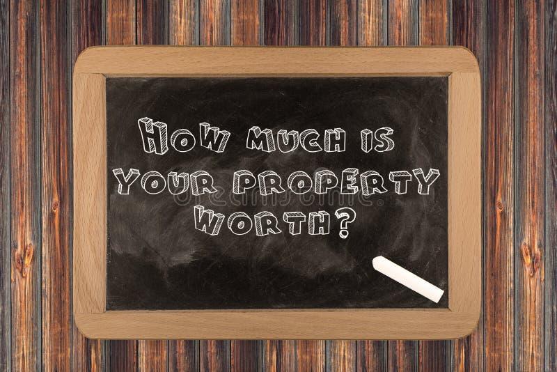 Πόσο είναι η ιδιοκτησία σας αξίας; - πίνακας κιμωλίας στοκ εικόνα