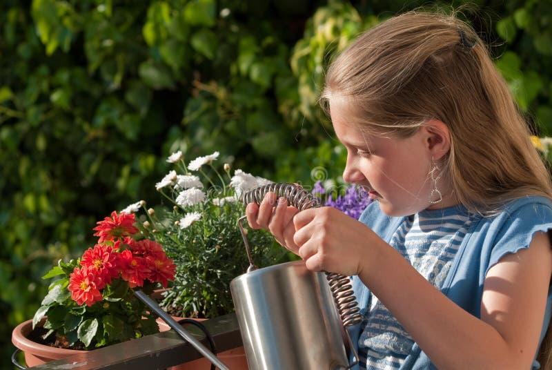πότισμα κοριτσιών λουλο& στοκ φωτογραφία με δικαίωμα ελεύθερης χρήσης