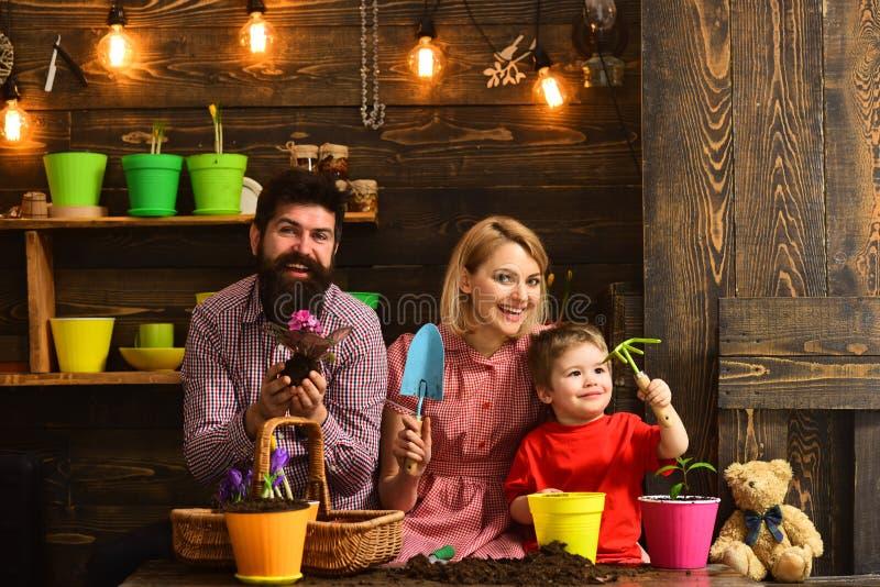 Πότισμα προσοχής λουλουδιών Εδαφολογικά λιπάσματα ευτυχείς κηπουροί με τα λουλούδια άνοιξη φύση αγάπης παιδιών γυναικών, ανδρών κ στοκ φωτογραφίες με δικαίωμα ελεύθερης χρήσης
