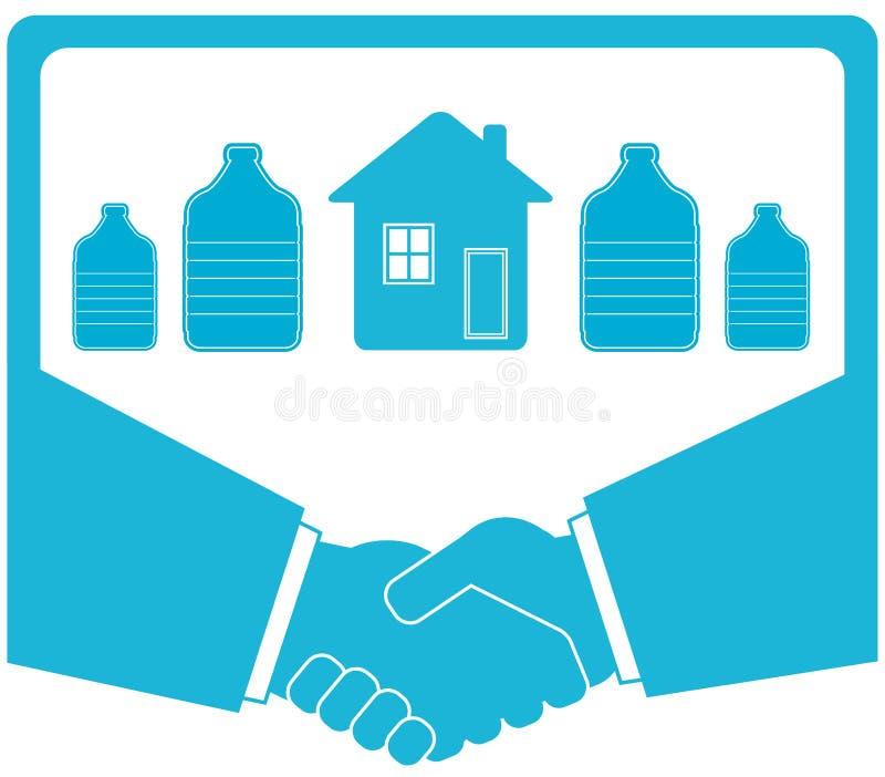 Πότισμα του διακριτικού με το μπουκάλι, χειραψία, σπίτι ελεύθερη απεικόνιση δικαιώματος