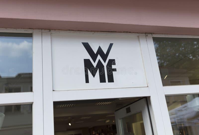 Πότσνταμ, Βερολίνο, Ευρώπη: Στις 20 Αυγούστου 2018: Λογότυπο καταστημάτων WMF στοκ φωτογραφία με δικαίωμα ελεύθερης χρήσης