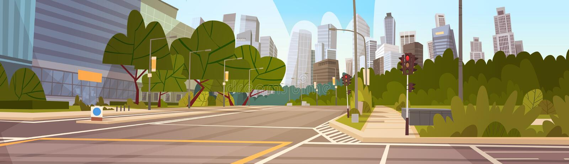 Πόλεων οδών ουρανοξυστών κτηρίων κενός στο κέντρο της πόλης εικονικής παράστασης πόλης οδικής άποψης σύγχρονος ελεύθερη απεικόνιση δικαιώματος