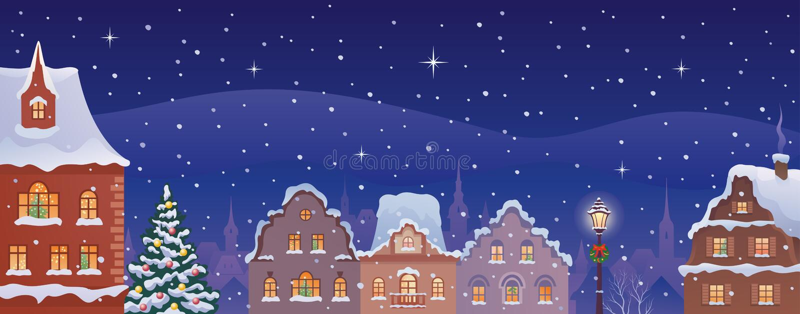 Πόλης έμβλημα Χριστουγέννων απεικόνιση αποθεμάτων