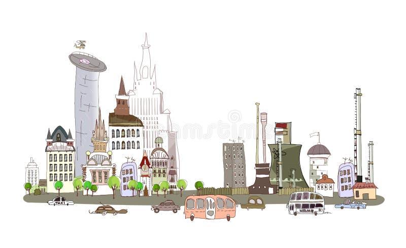 Πόλη και εργοστάσιο στον πολυάσχολο δρόμο, υπόβαθρο συλλογής πόλεων διανυσματική απεικόνιση