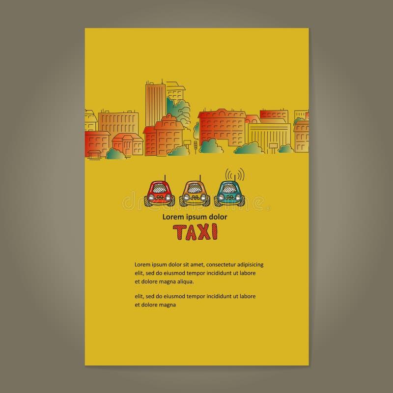 Πόλη και ταξί αφίσα απεικόνιση αποθεμάτων