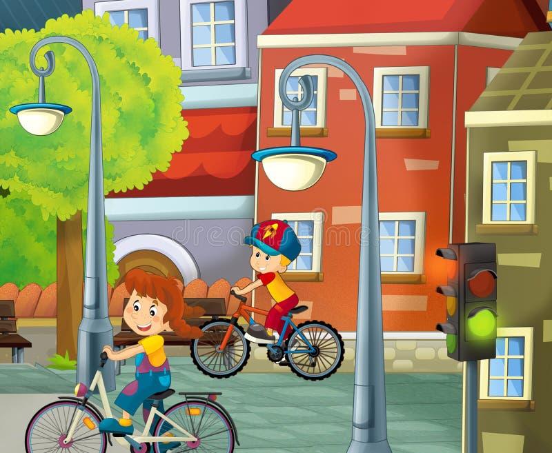 Πόλη κινούμενων σχεδίων - απεικόνιση για τα παιδιά ελεύθερη απεικόνιση δικαιώματος