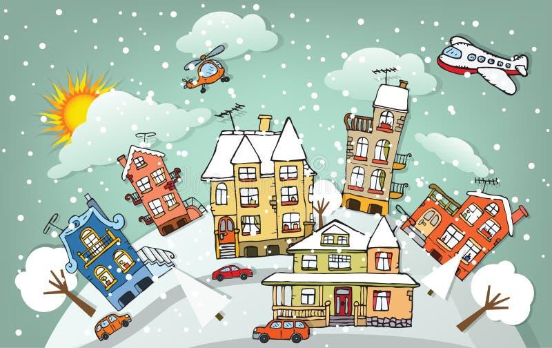 Πόλη κινούμενων σχεδίων (χειμώνας) απεικόνιση αποθεμάτων