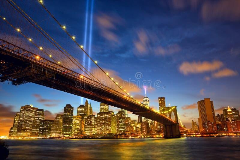Πόλη Μανχάταν της Νέας Υόρκης στη μνήμη της 11ης Σεπτεμβρίου στοκ εικόνα με δικαίωμα ελεύθερης χρήσης