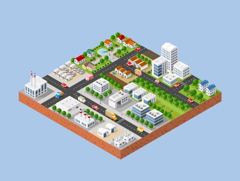 Πόλη με τα σπίτια ελεύθερη απεικόνιση δικαιώματος