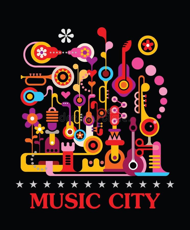 Πόλη μουσικής ελεύθερη απεικόνιση δικαιώματος