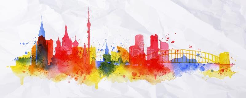 Πόλη Μόσχα επικαλύψεων σκιαγραφιών διανυσματική απεικόνιση