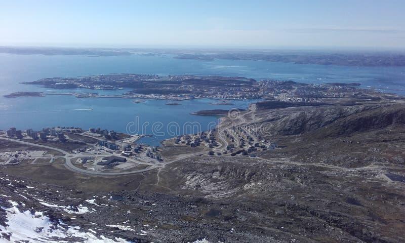 Πόλη Νουούκ Γροιλανδία FromMountain στοκ εικόνα