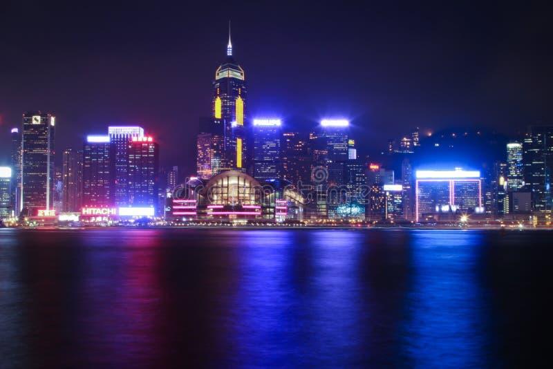 Πόλη νύχτας Χονγκ Κονγκ στοκ φωτογραφία