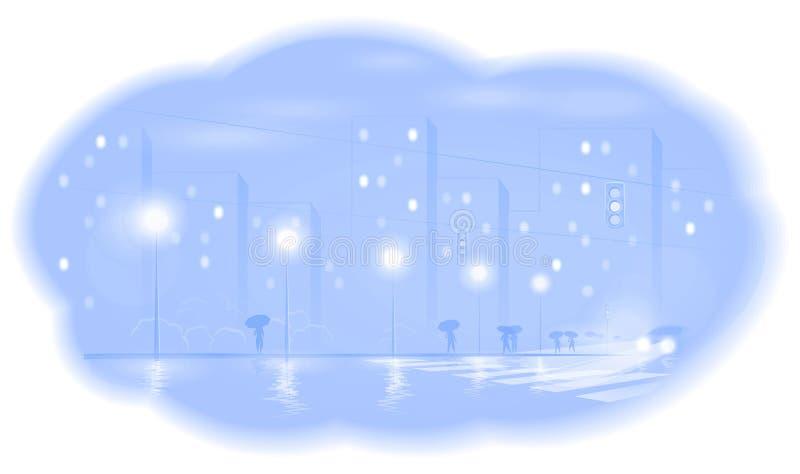 Πόλη νύχτας απεικόνιση αποθεμάτων