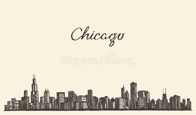 Πόλη οριζόντων του Σικάγου που χαράσσει τη διανυσματική απεικόνιση ελεύθερη απεικόνιση δικαιώματος