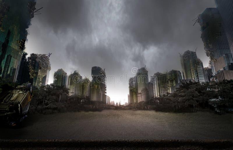 Πόλη που καταστρέφεται από τον πόλεμο στοκ φωτογραφία με δικαίωμα ελεύθερης χρήσης