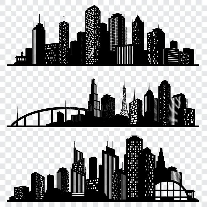 Πόλη που χτίζει τις διανυσματικές σκιαγραφίες, αστικοί διανυσματικοί ορίζοντες καθορισμένοι ελεύθερη απεικόνιση δικαιώματος