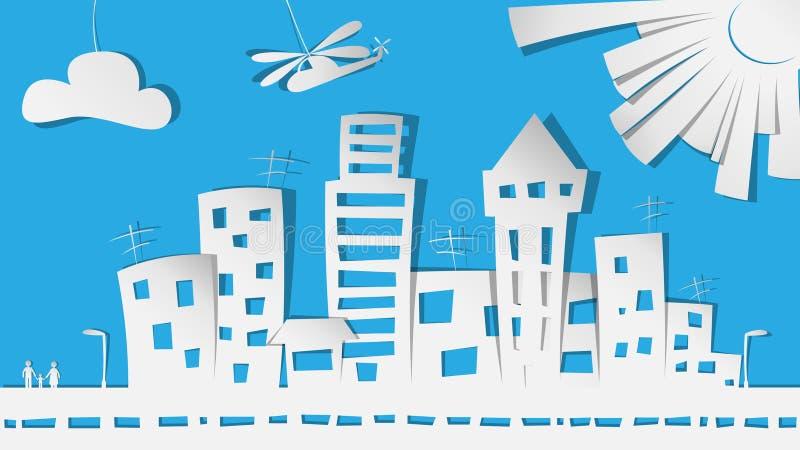 Πόλη στο έγγραφο διανυσματική απεικόνιση