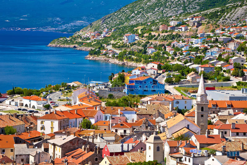 Πόλη της αρχιτεκτονικής και της ακτής Senj στοκ φωτογραφία