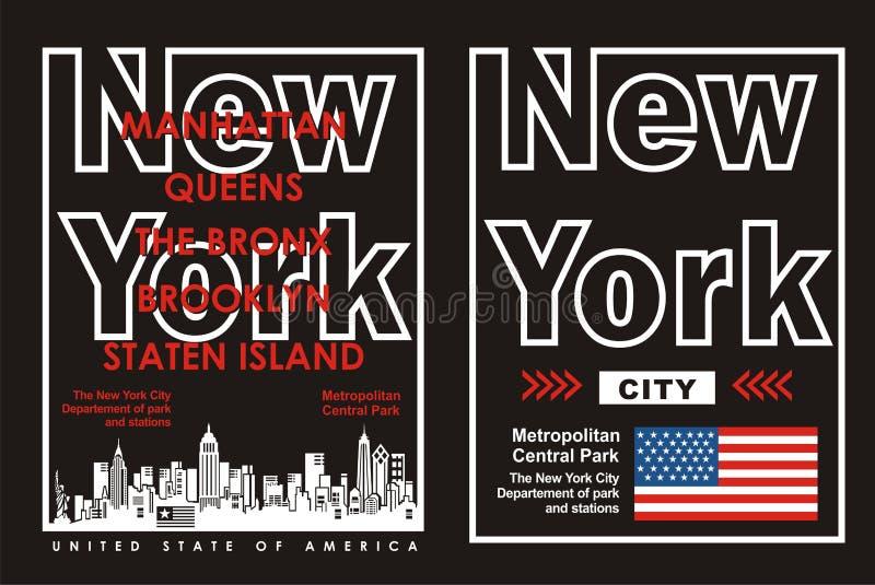 02 πόλη της Νέας Υόρκης τυπογραφίας, διάνυσμα απεικόνιση αποθεμάτων