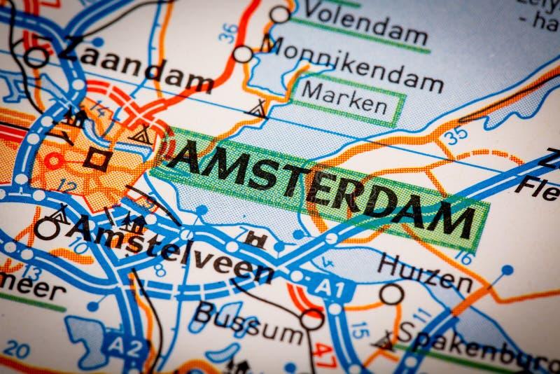 Πόλη του Άμστερνταμ σε έναν οδικό χάρτη στοκ εικόνα με δικαίωμα ελεύθερης χρήσης