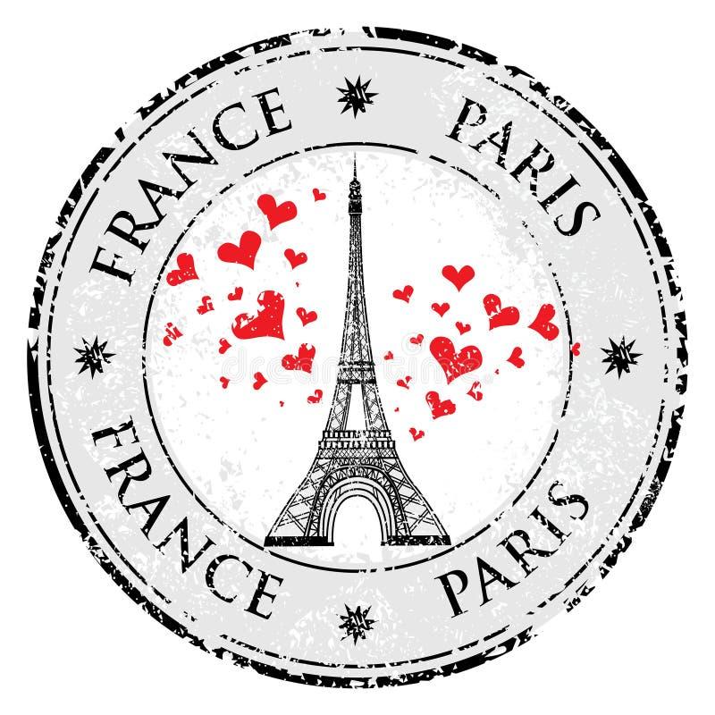 Πόλη του Παρισιού στην καρδιά αγάπης γραμματοσήμων της Γαλλίας grunge, διάνυσμα πύργων του Άιφελ ελεύθερη απεικόνιση δικαιώματος