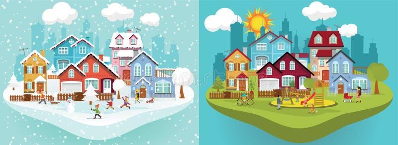 Πόλη το χειμώνα και το καλοκαίρι διανυσματική απεικόνιση