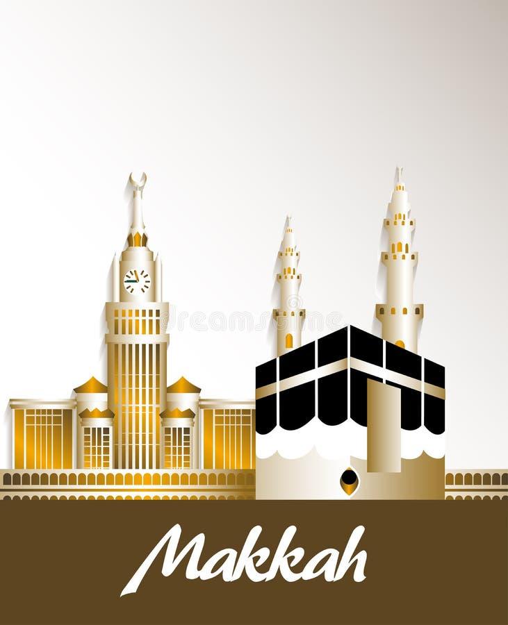 Πόλη των διάσημων κτηρίων της Μέκκας Σαουδική Αραβία απεικόνιση αποθεμάτων