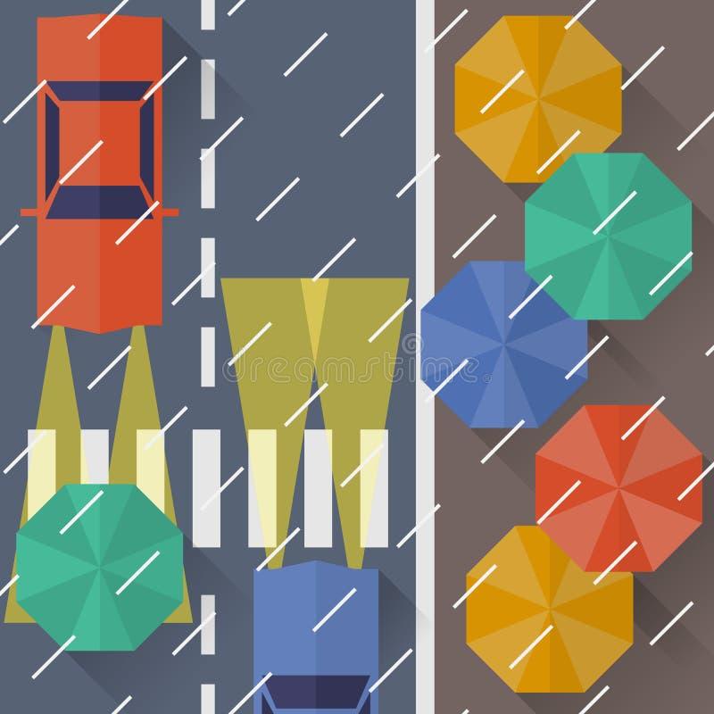 Πόλη φθινοπώρου, βροχή μια τοπ άποψη διανυσματική απεικόνιση