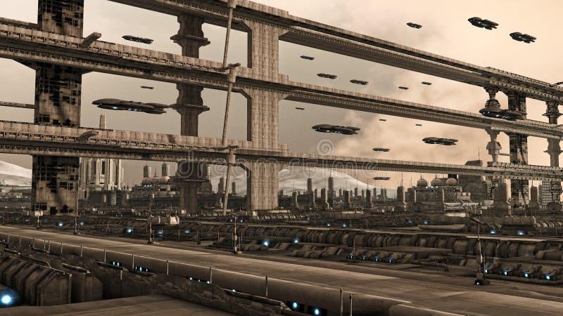 πόλη φουτουριστική διανυσματική απεικόνιση