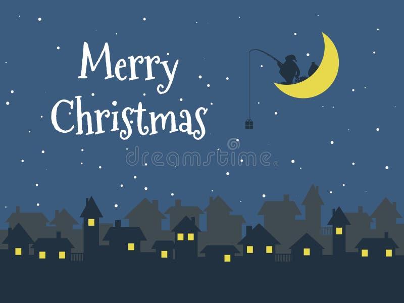 Πόλη Χριστουγέννων νύχτας, Άγιος Βασίλης, Χαρούμενα Χριστούγεννα ελεύθερη απεικόνιση δικαιώματος