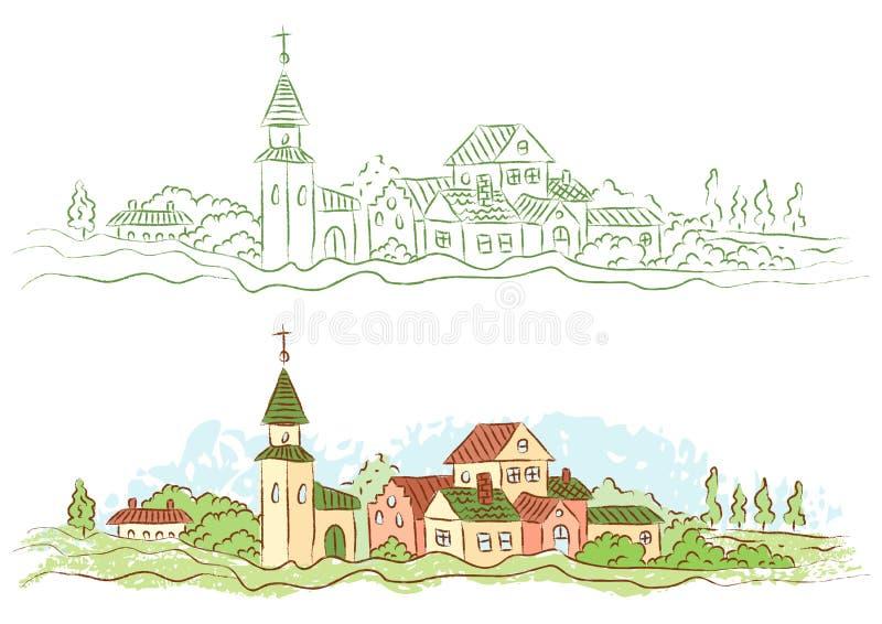 Πόλη χώρας απεικόνιση αποθεμάτων