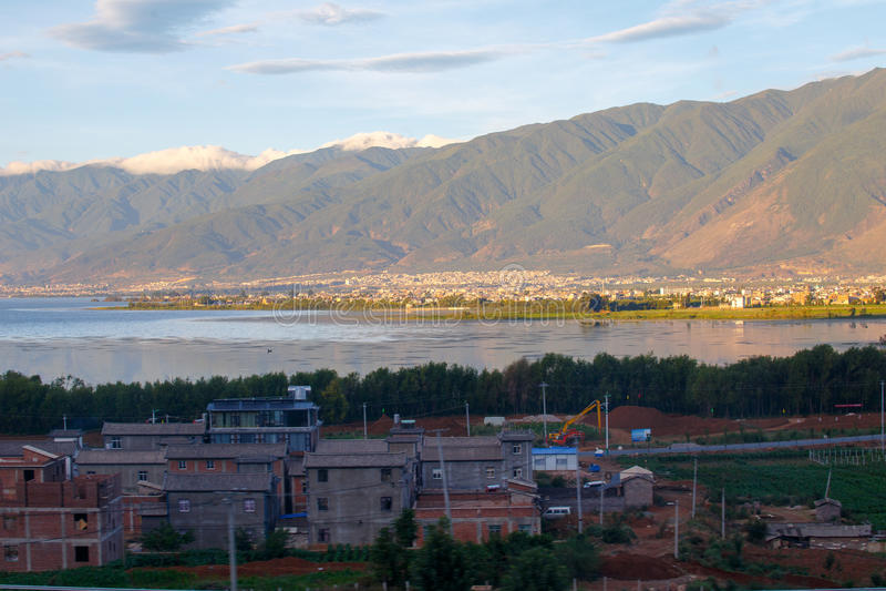Πόλη όχθεων της λίμνης του Δαλιού Yunnan Κίνα στοκ εικόνες με δικαίωμα ελεύθερης χρήσης