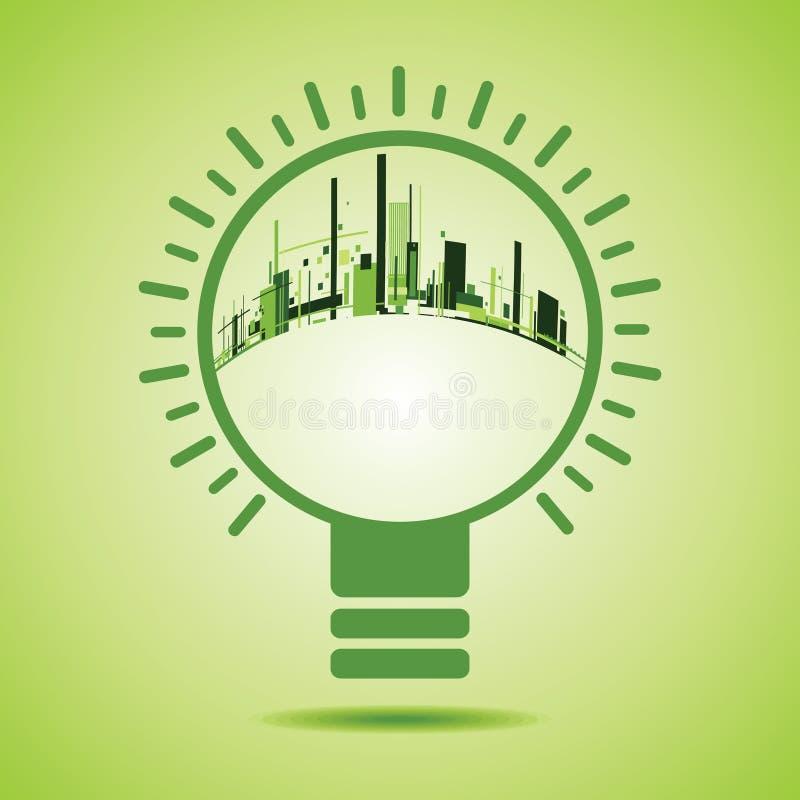 Πόλη Eco μέσα ενός βολβού πράσινου φωτός ελεύθερη απεικόνιση δικαιώματος